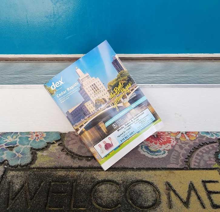 thin phonebook on doorstep